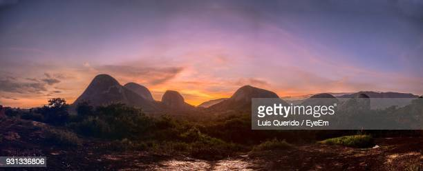 scenic view of mountains against sky at sunset - angola stock pictures, royalty-free photos & images