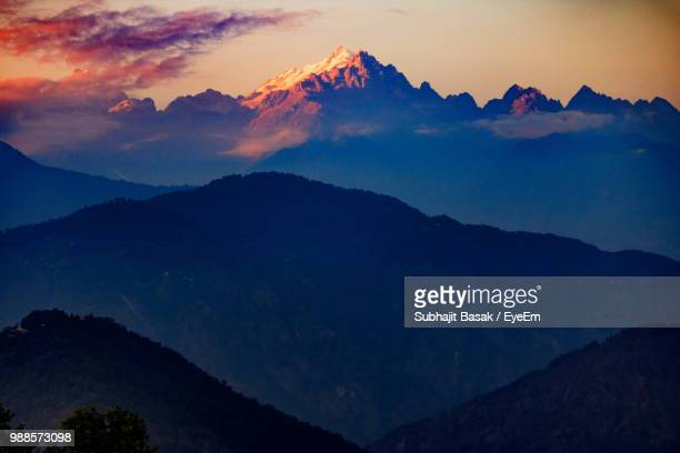 scenic view of mountains against sky at sunset - sikkim stock pictures, royalty-free photos & images