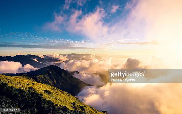 scenic view of mountains against sky during foggy weather - liu he stock pictures, royalty-free photos & images