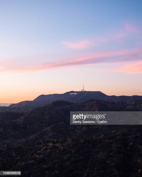 scenic view of mountains against sky during sunset - hollywood sign stock pictures, royalty-free photos & images