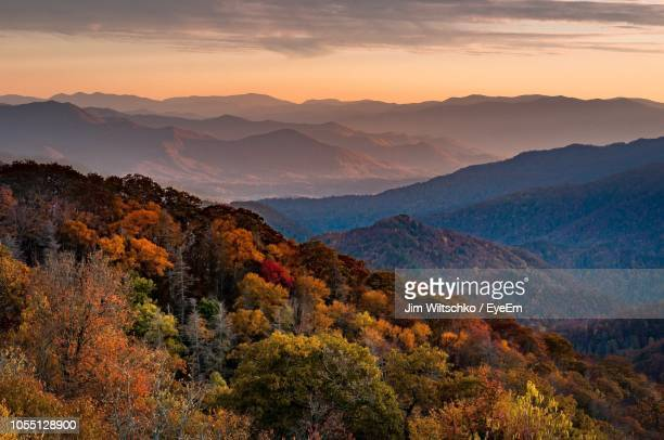 scenic view of mountains against sky during sunset - tennessee stock pictures, royalty-free photos & images