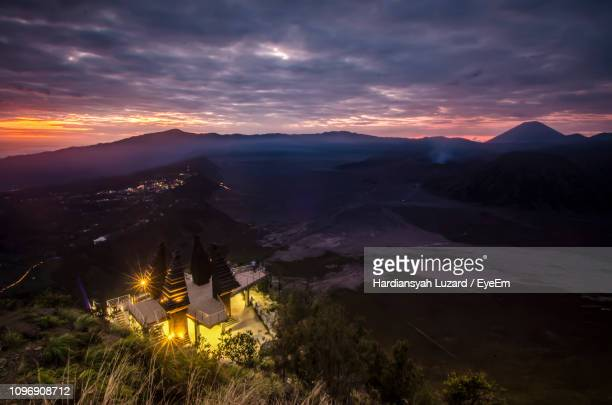 scenic view of mountains against sky during sunset - tengger stock pictures, royalty-free photos & images