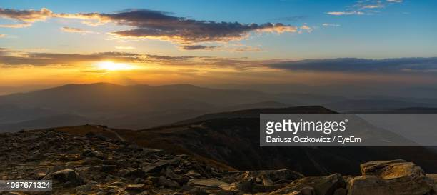 scenic view of mountains against sky during sunset - babia góra mountain stock pictures, royalty-free photos & images