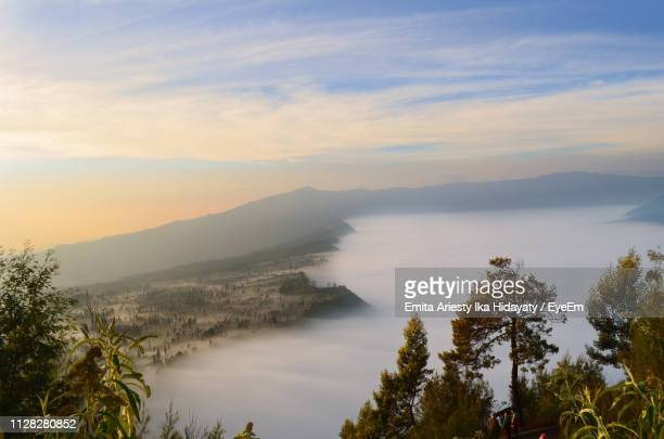 scenic view of mountains against sky during sunset - east java province stock pictures, royalty-free photos & images