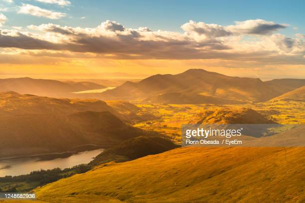 scenic view of mountains against sky during sunset - mountain stock pictures, royalty-free photos & images