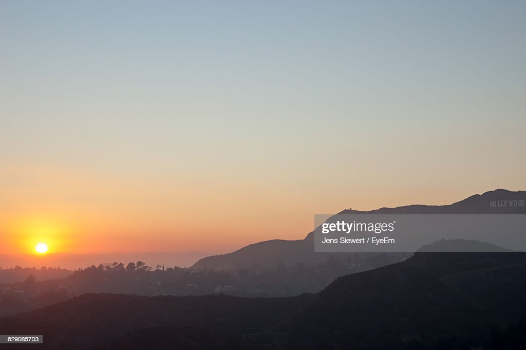 Scenic View Of Mountains Against Sky During Sunset : Stock-Foto