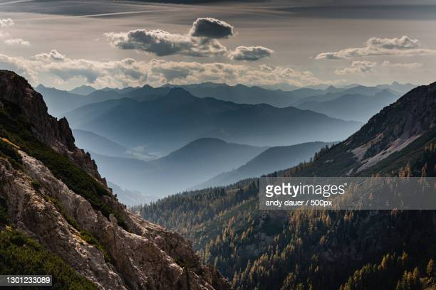 scenic view of mountains against sky during sunset,gemeinde ramsau am dachstein,austria - andy dauer stock pictures, royalty-free photos & images