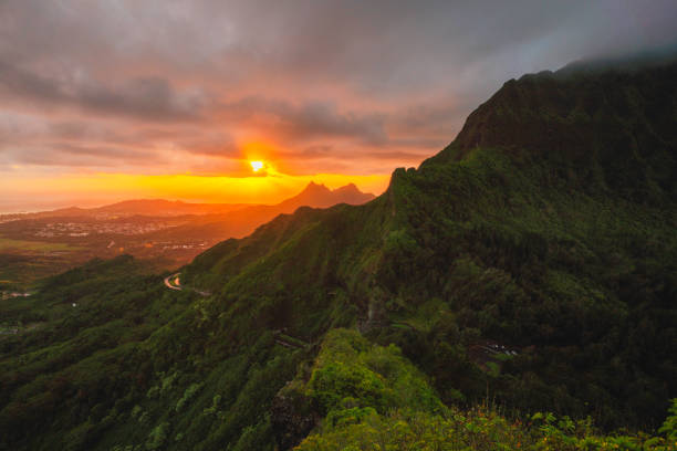 Scenic view of mountains against sky during sunset,Hawaii,United States,USA