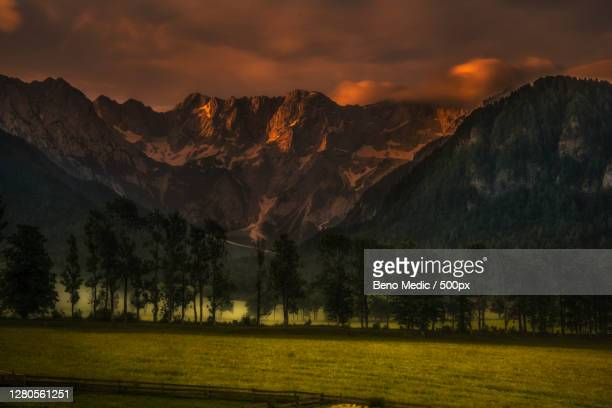 scenic view of mountains against sky during sunset,kranj,slovenia - kranj stock pictures, royalty-free photos & images