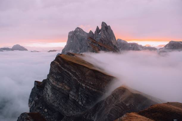 Scenic view of mountains against sky during sunset,Selva di Val Gardena,Bolzano,Italy