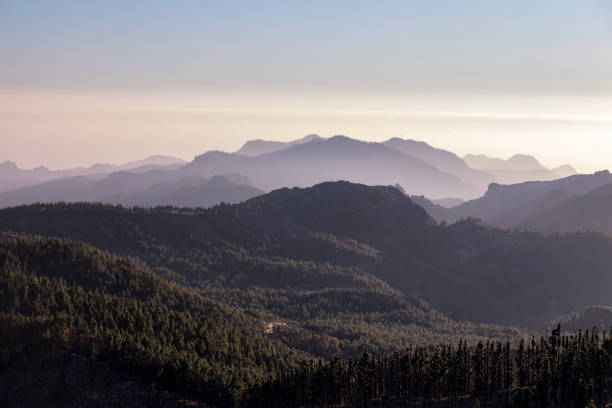 Scenic view of mountains against sky during sunset,Tejeda,Las Palmas,Spain