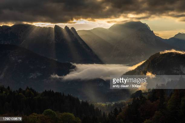 scenic view of mountains against sky during sunset,unken,austria - andy dauer stock pictures, royalty-free photos & images