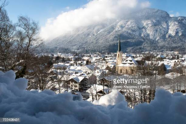 scenic view of mountains against sky during winter - garmisch partenkirchen stock pictures, royalty-free photos & images