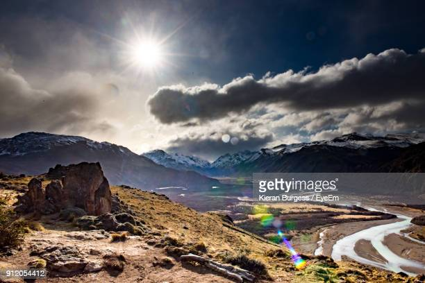 scenic view of mountains against sky during winter - los glaciares national park stock pictures, royalty-free photos & images