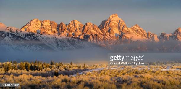 scenic view of mountains against sky during winter - grand teton national park stock pictures, royalty-free photos & images