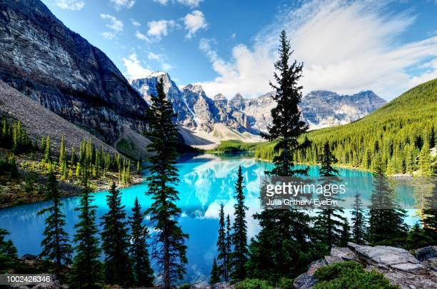 scenic view of mountains against sky - banff national park stock pictures, royalty-free photos & images