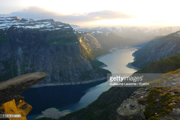scenic view of mountains against sky - hordaland county stock pictures, royalty-free photos & images