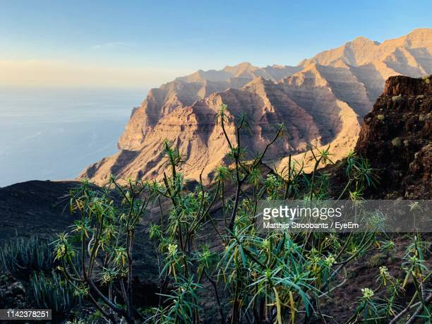 scenic view of mountains against sky - las palmas de gran canaria stock pictures, royalty-free photos & images