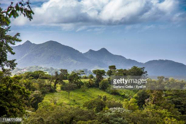 scenic view of mountains against sky - antigua & barbuda stock pictures, royalty-free photos & images
