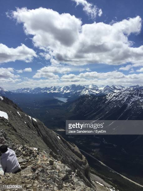 scenic view of mountains against sky - kananaskis country stock pictures, royalty-free photos & images