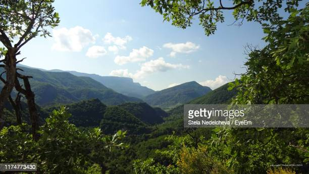 scenic view of mountains against sky - alpes de haute provence stock photos and pictures