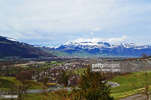 scenic view of mountains against sky - vaduz stock pictures, royalty-free photos & images