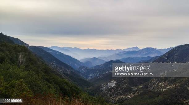 scenic view of mountains against sky - san gabriel mountains stock pictures, royalty-free photos & images