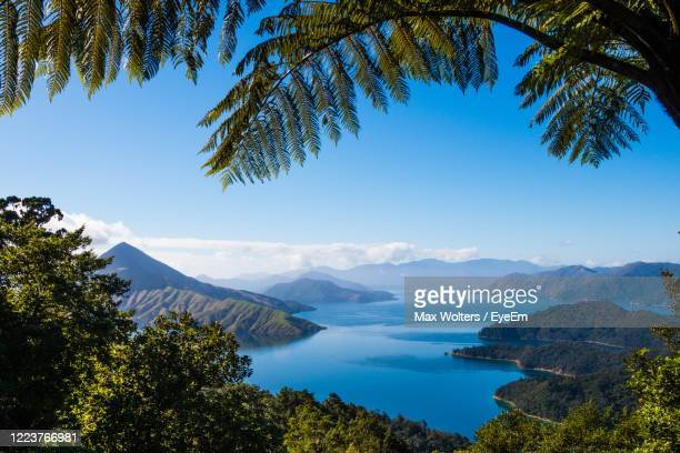 scenic view of mountains against sky - marlborough new zealand stock pictures, royalty-free photos & images