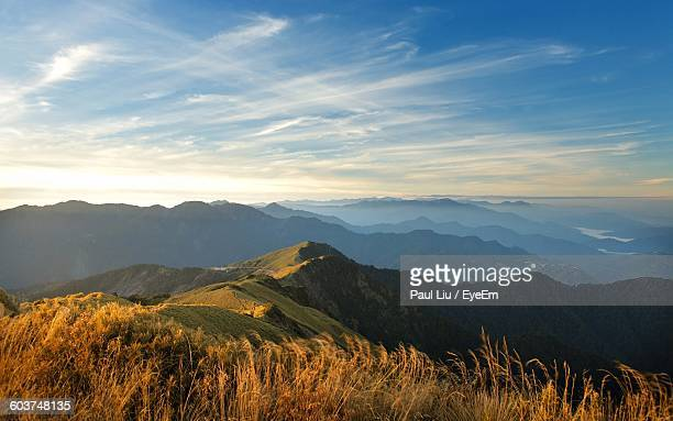 scenic view of mountains against sky - liu he stock pictures, royalty-free photos & images