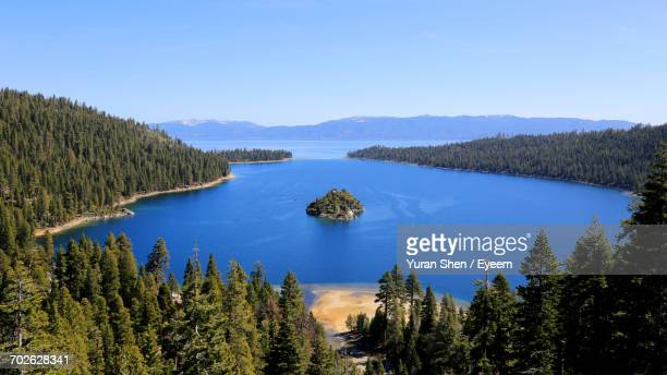 scenic view of mountains against sky - emerald bay lake tahoe stock pictures, royalty-free photos & images