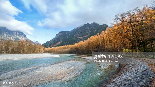 scenic view of mountains against sky - takayama city stock pictures, royalty-free photos & images