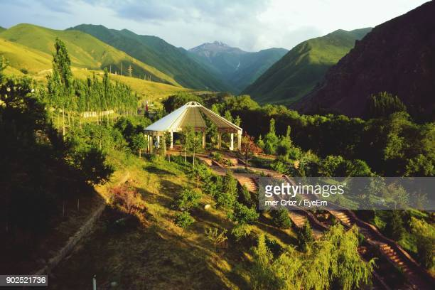 scenic view of mountains against sky - kyrgyzstan stock pictures, royalty-free photos & images