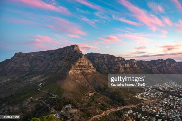 scenic view of mountains against sky - table mountain stock pictures, royalty-free photos & images