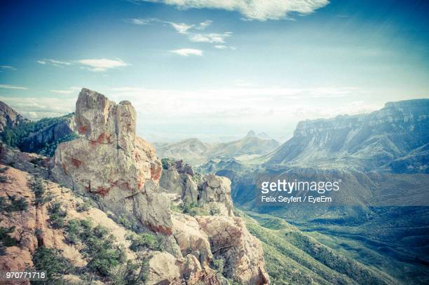 scenic view of mountains against sky - big bend national park stock pictures, royalty-free photos & images
