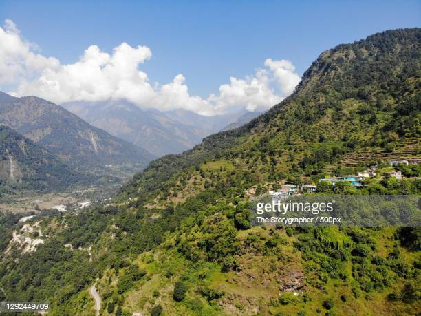 scenic view of mountains against sky,kedarnath musk deer wildlife sancturay,india,kedarnath wildlife sancturay - the storygrapher stock pictures, royalty-free photos & images