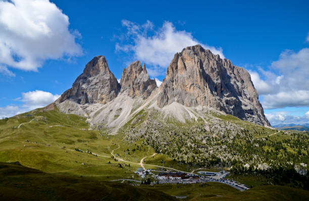 Scenic view of mountains against sky,Passo Sella,Selva di Val Gardena,Bolzano,Italy