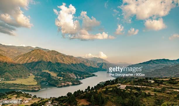 scenic view of mountains against sky,uttarkashi,uttarakhand,india - the storygrapher foto e immagini stock