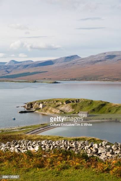 Scenic view of mountains and loch, Tongue, Scotland, UK