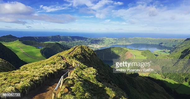 Scenic View Of Mountains At Azores Archipelago Against Sky