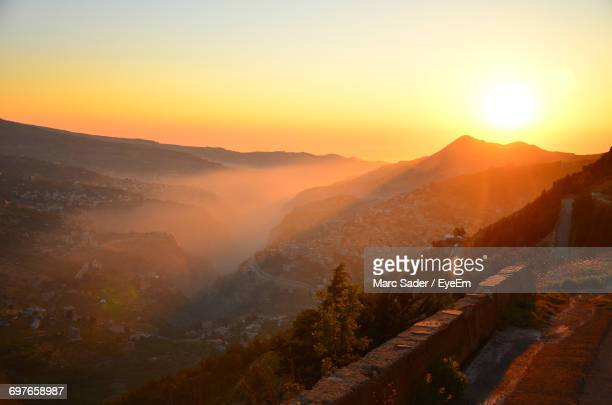 scenic view of mountains at sunset - lebanon stock photos and pictures