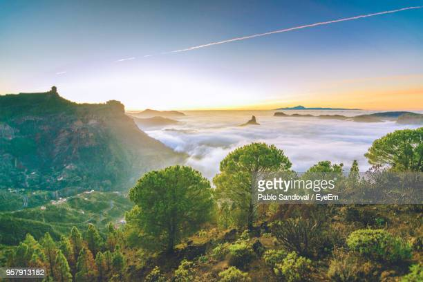 scenic view of mountains at sunset - las palmas de gran canaria stock pictures, royalty-free photos & images