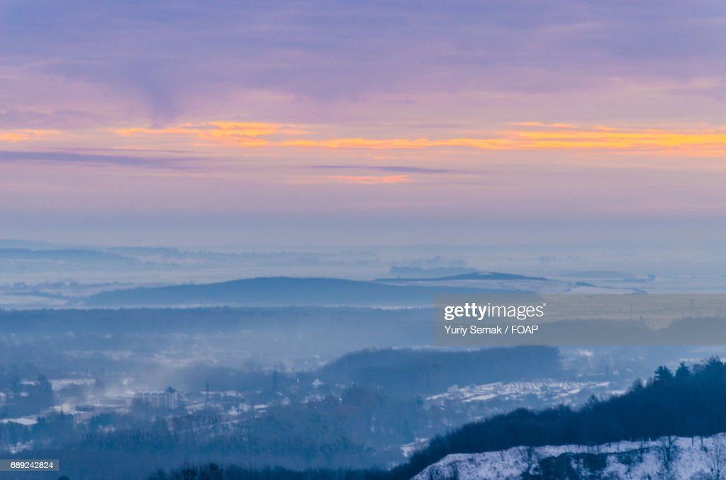 Scenic view of mountains during sunset : Stock Photo