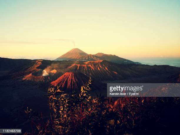 scenic view of mt bromo against sky during sunset - tengger stock pictures, royalty-free photos & images