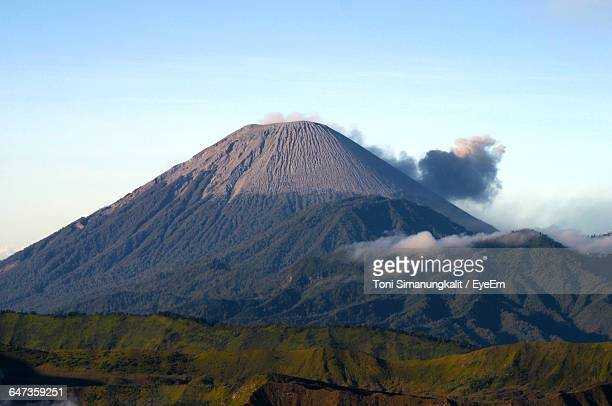 scenic view of mt bromo against sky - bromo crater stock pictures, royalty-free photos & images