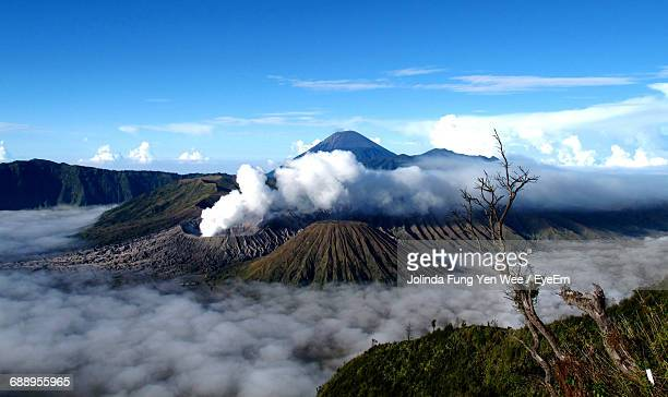 scenic view of mt bromo against sky - bromo crater stock photos and pictures