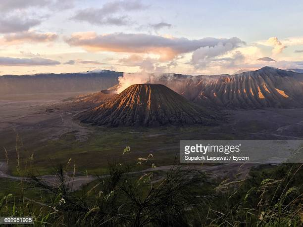 scenic view of mt bromo against sky - bromo tengger semeru national park stock pictures, royalty-free photos & images