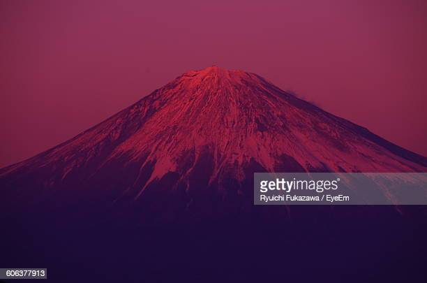 Scenic View Of Mt Fuji Against Clear Sky At Dusk