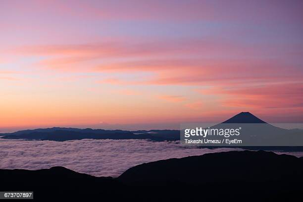 Scenic View Of Mt Fuji And Clouds During Sunrise
