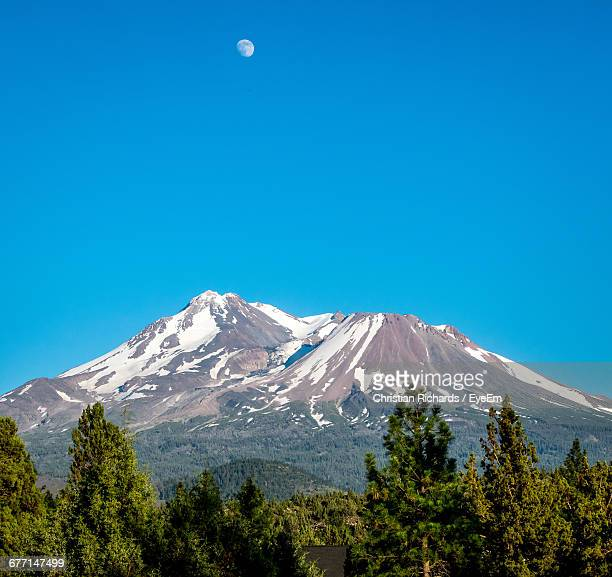Scenic View Of Mt Shasta Against Clear Blue Sky