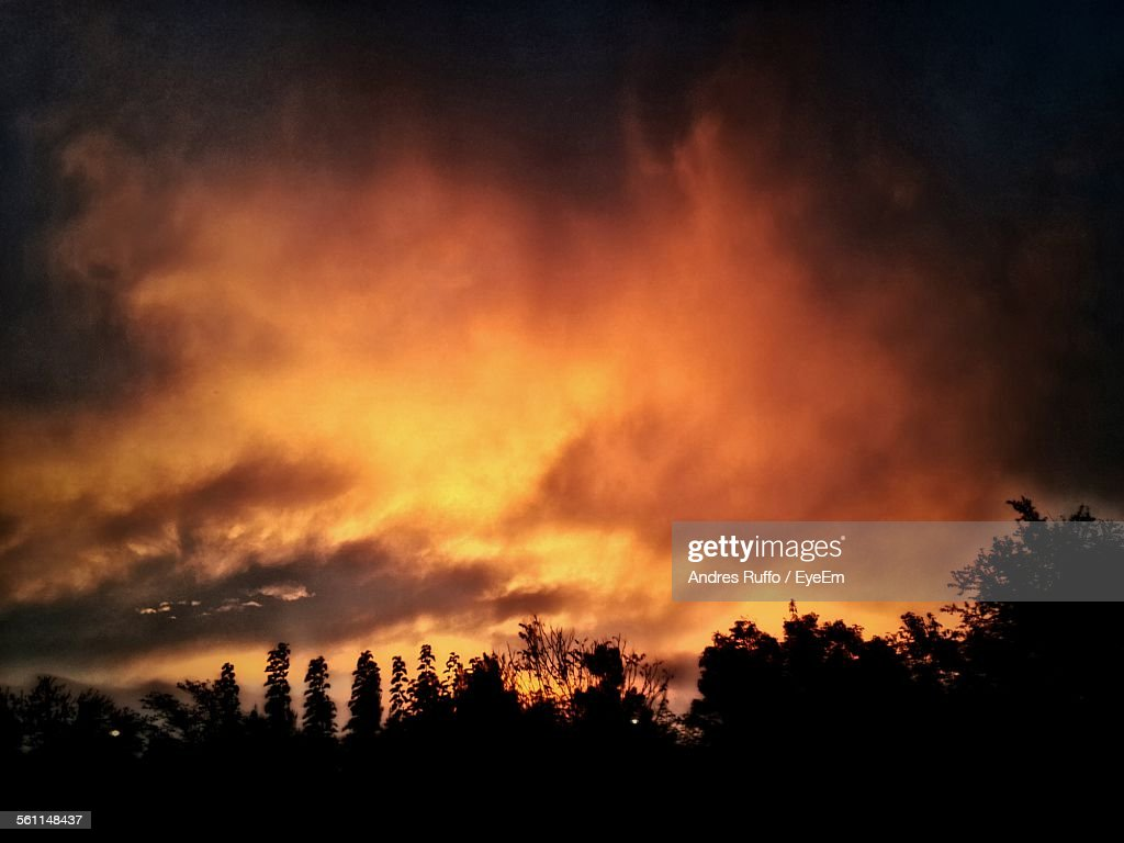Scenic View Of Orange Clouds During Sunset : Stock Photo